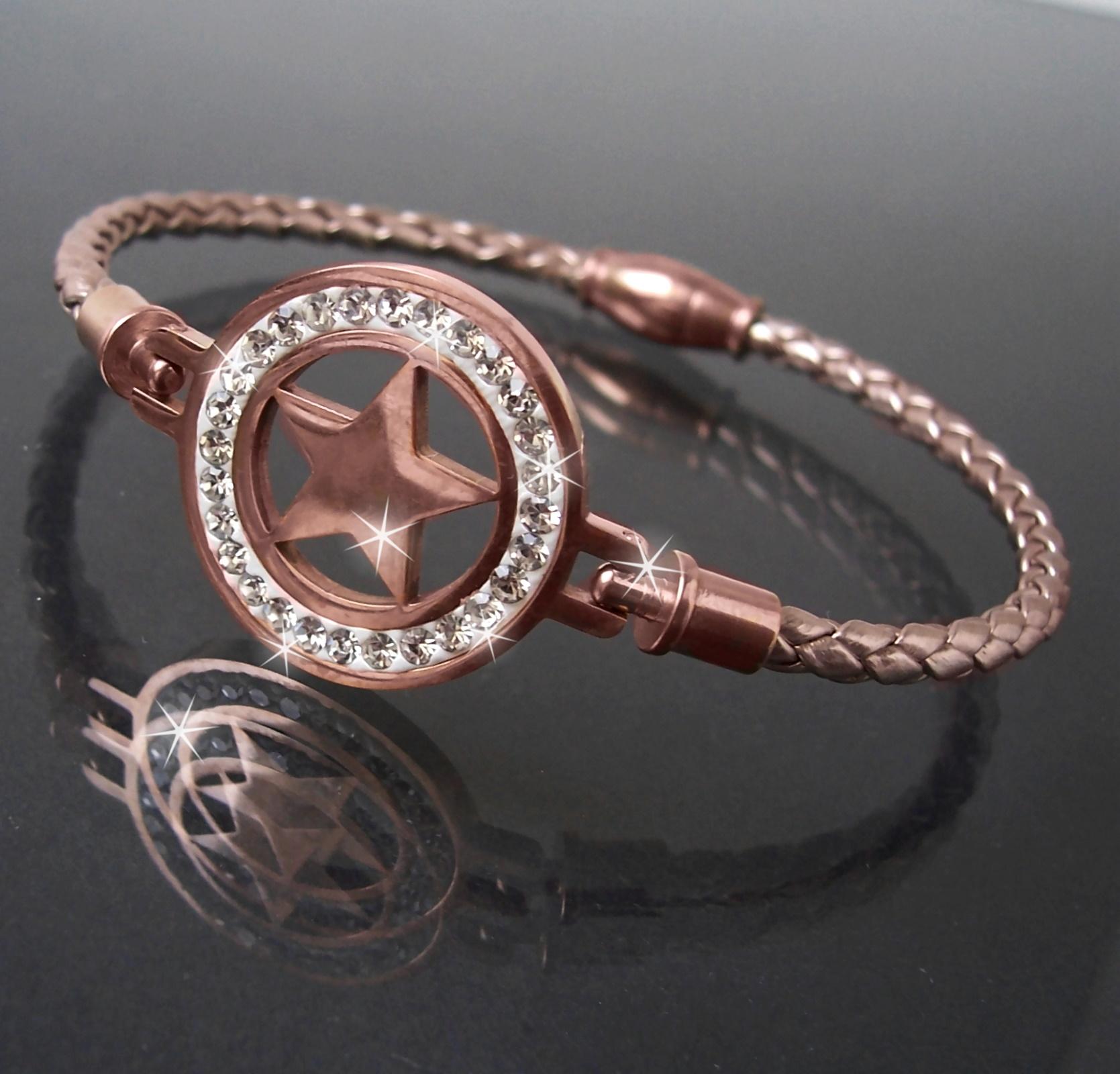Armband Leder rosé Edelstahl Magnet Stern Roségold Strass Damen A77750