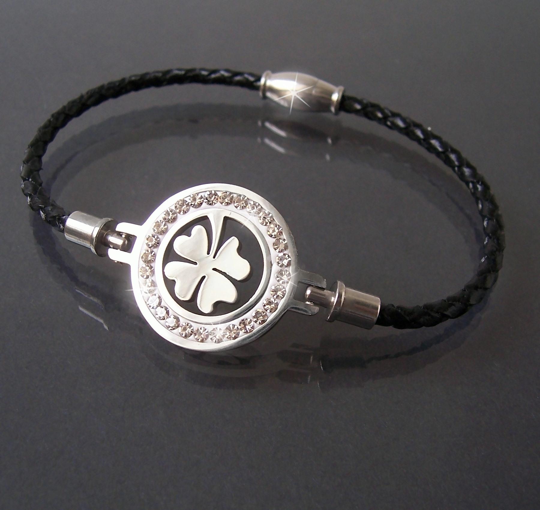 Armband Leder schwarz Edelstahl Magnet Kleeblatt silber Strass A77761