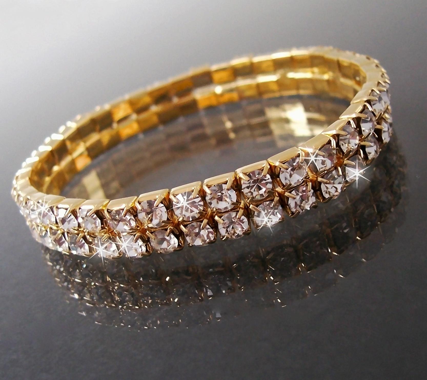 Armband 2-reihig Gold plattiert Armschmuck Damen Braut Hochzeit A930