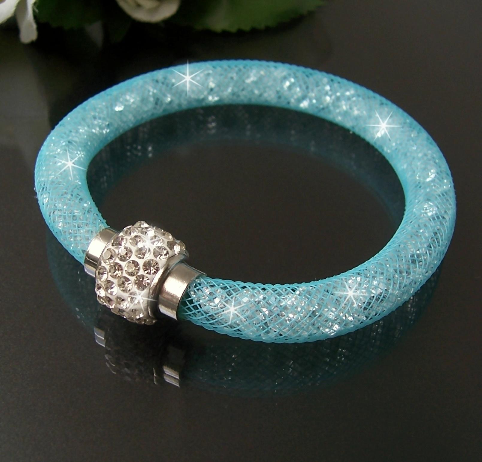 Armband Kristalle in Nylonnetzschlauch Shamballa Star türkisblau A955