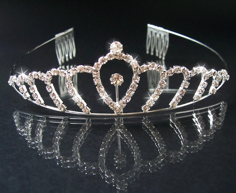 Diadem Tiara Silber Strass Krone Braut Schmuck H1058