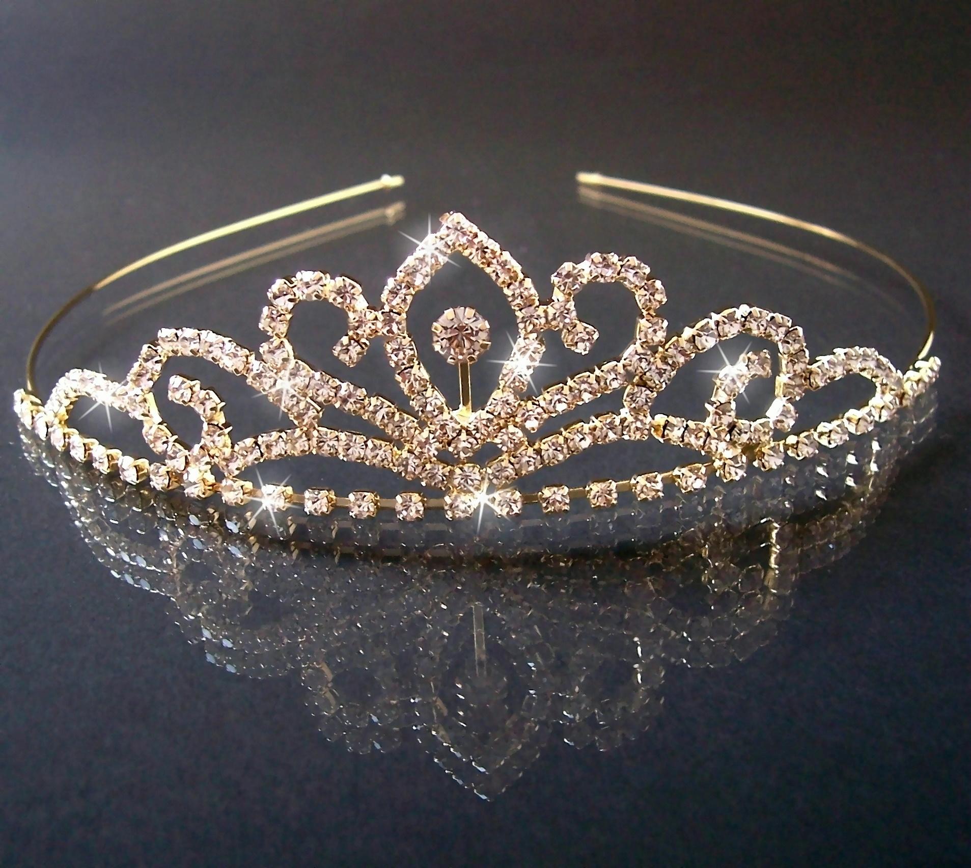 DIADEM Tiara Strass Gold Braut Schmuck Kopfschmuck Kommunion H1418