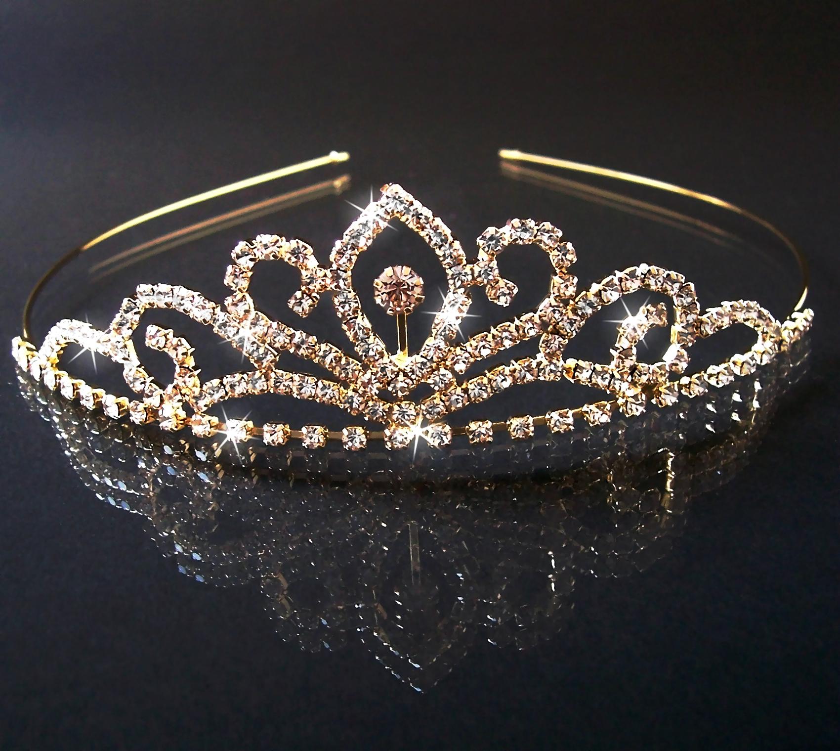 H1418* Brautschmuck Diadem Tiara Krone gold