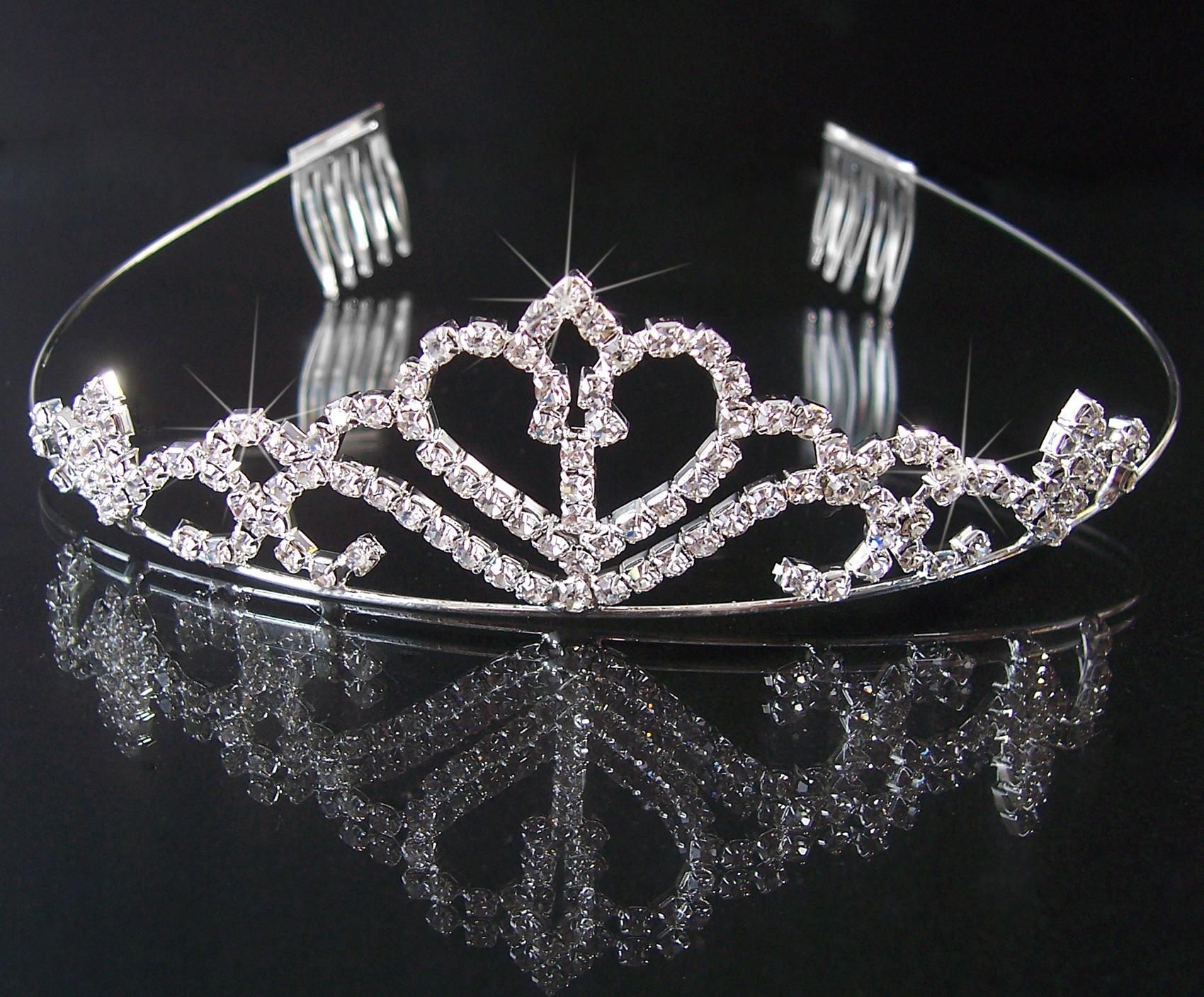 Tiara Diadem Krone Hochzeit Brautschmuck Braut silber Haarreif H1424