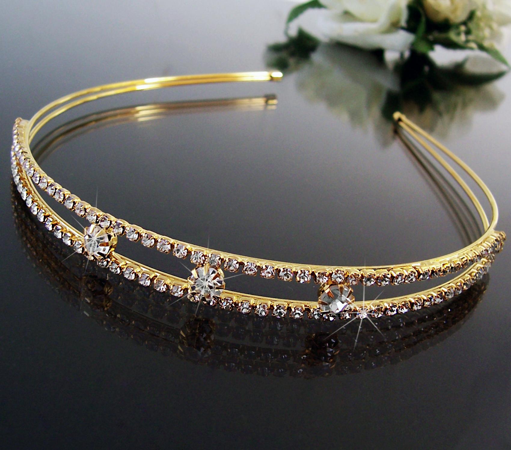 Tiara Diadem Haarreif 11mm Kommunion Hochzeit Schmuck Braut Gold Strass H1632