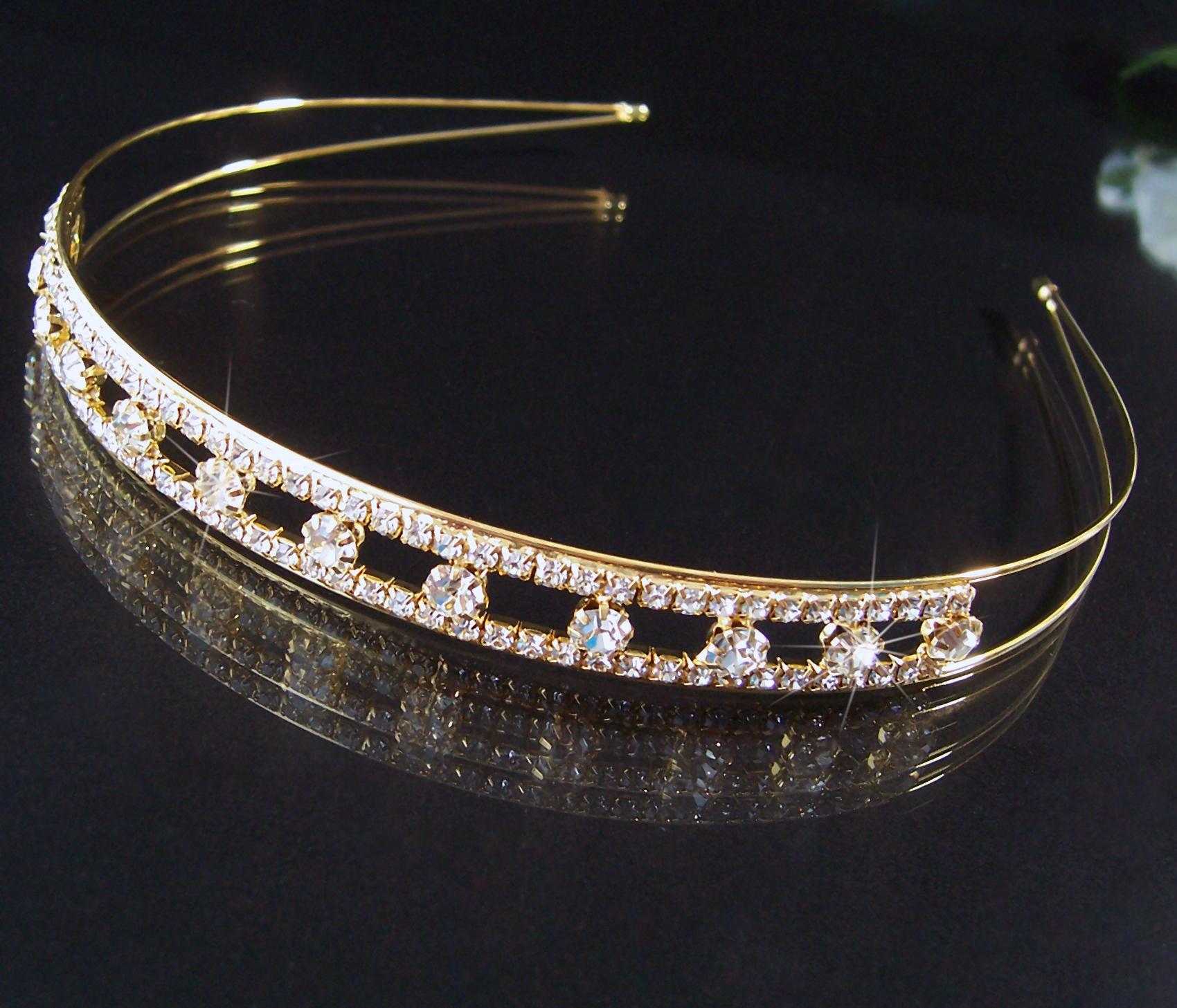 Tiara Diadem Haarreif 14mm Kommunion Hochzeit Schmuck Braut gold Strass H2068