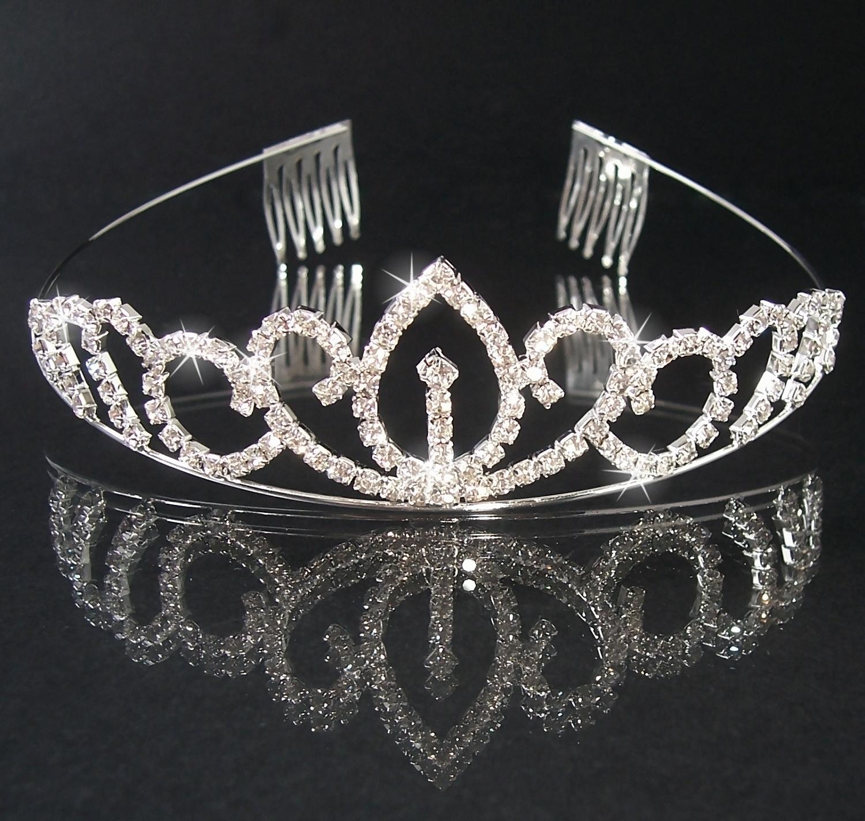 Diadem Tiara Silber Strass Krone Braut Schmuck H2305