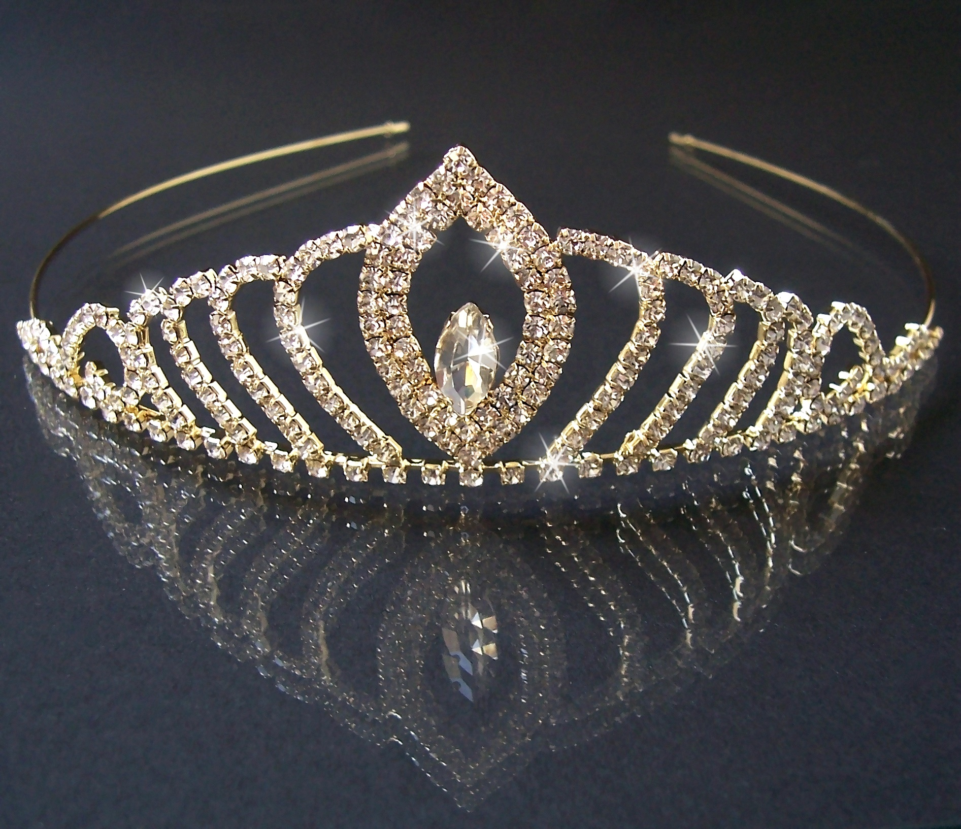 DIADEM Tiara Strass Gold Braut Schmuck Kopfschmuck Prinzessin H2314