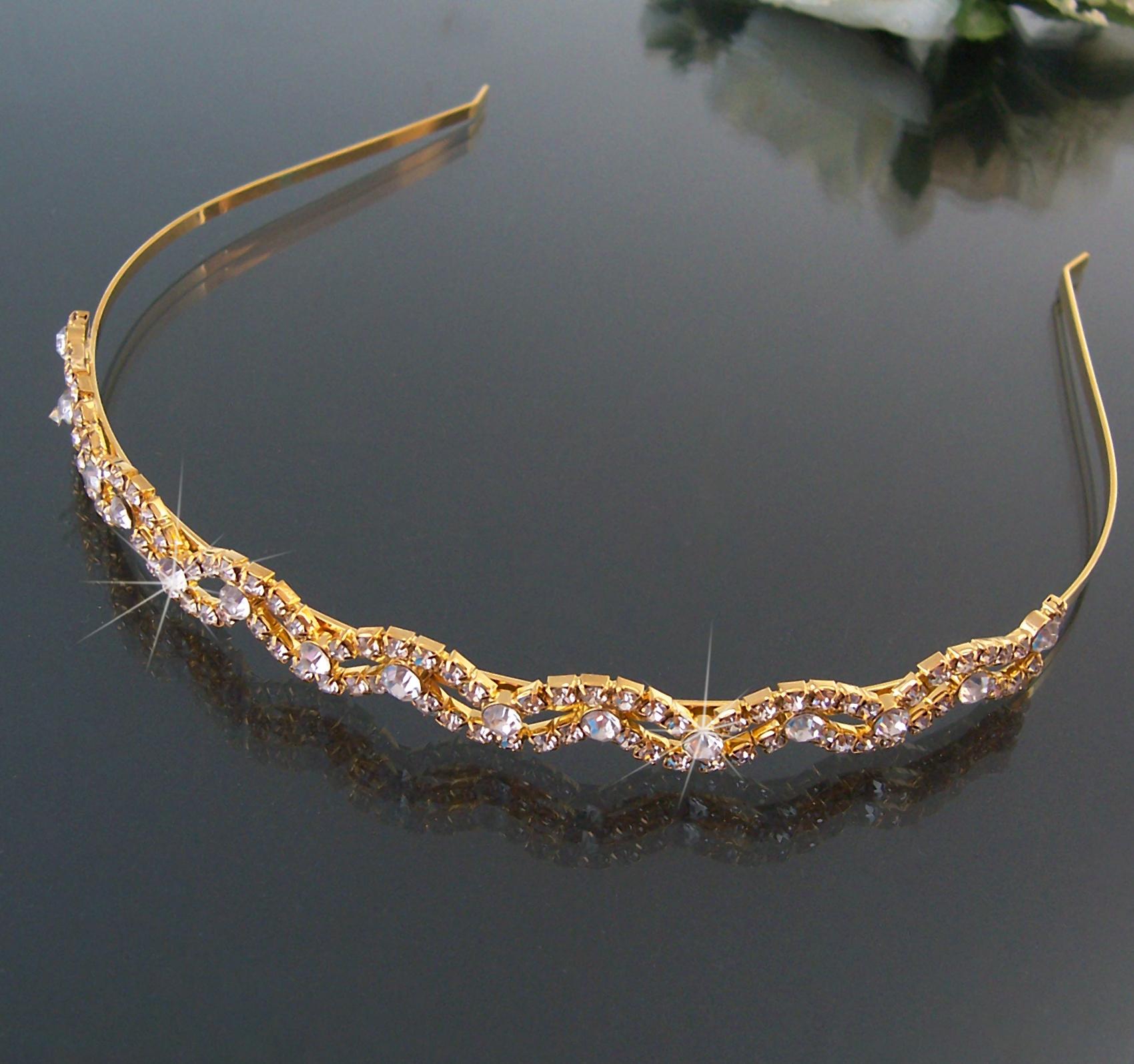 Tiara Diadem Haarreif 12mm Kommunion Hochzeit Schmuck Braut Gold Strass H2801