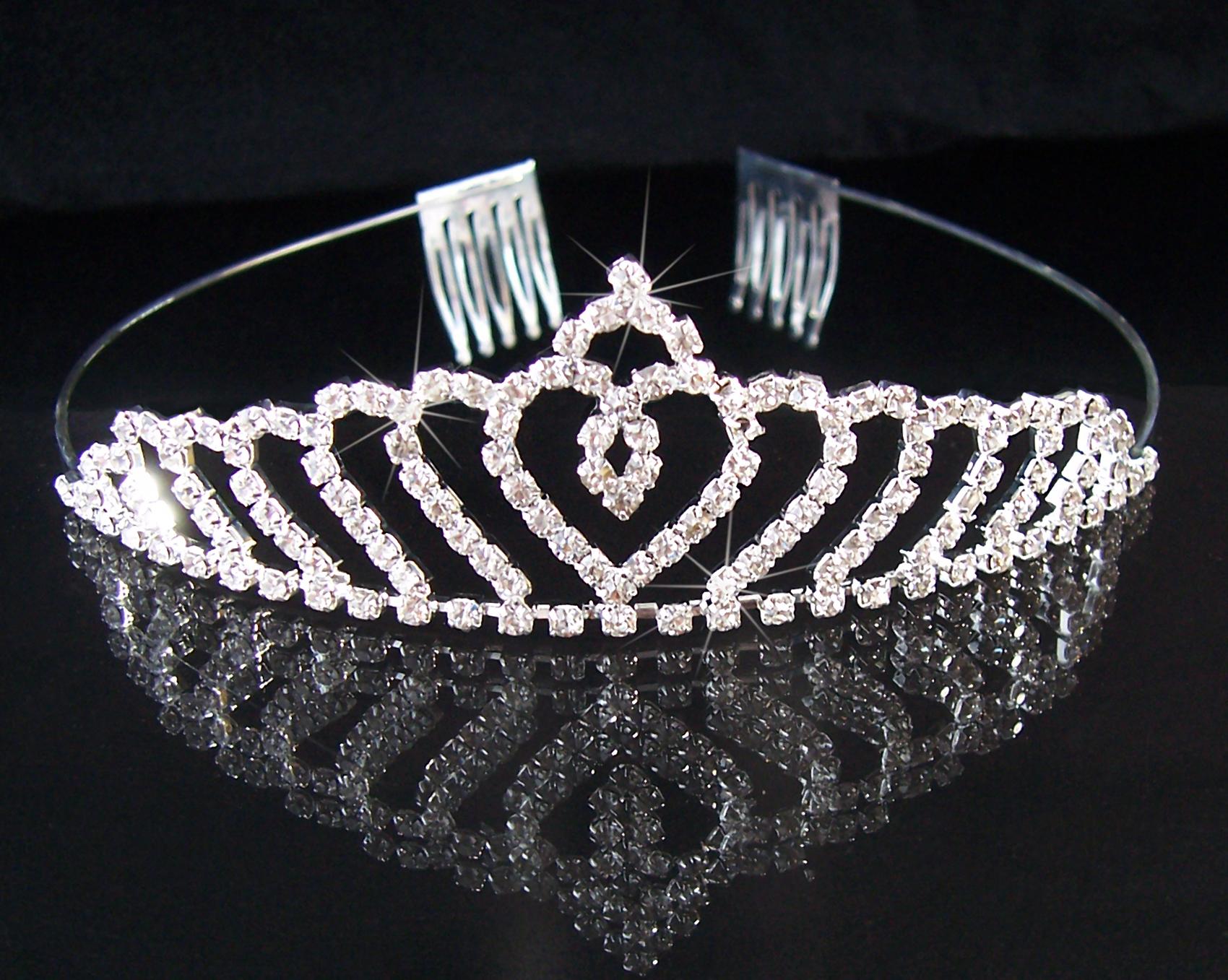 Tiara Diadem Krone Hochzeit Brautschmuck Braut silber Haarreif H2834