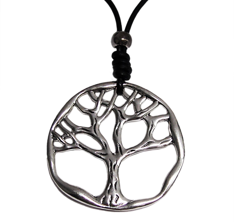 Niklarson Kette lange Halskette Lederlook schwarz Lebensbaum 7cm silber K1009