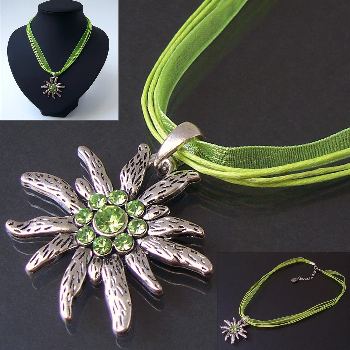 Halskette Kette Tracht Dirndl Edelweiss Organzaband maigrün K1206
