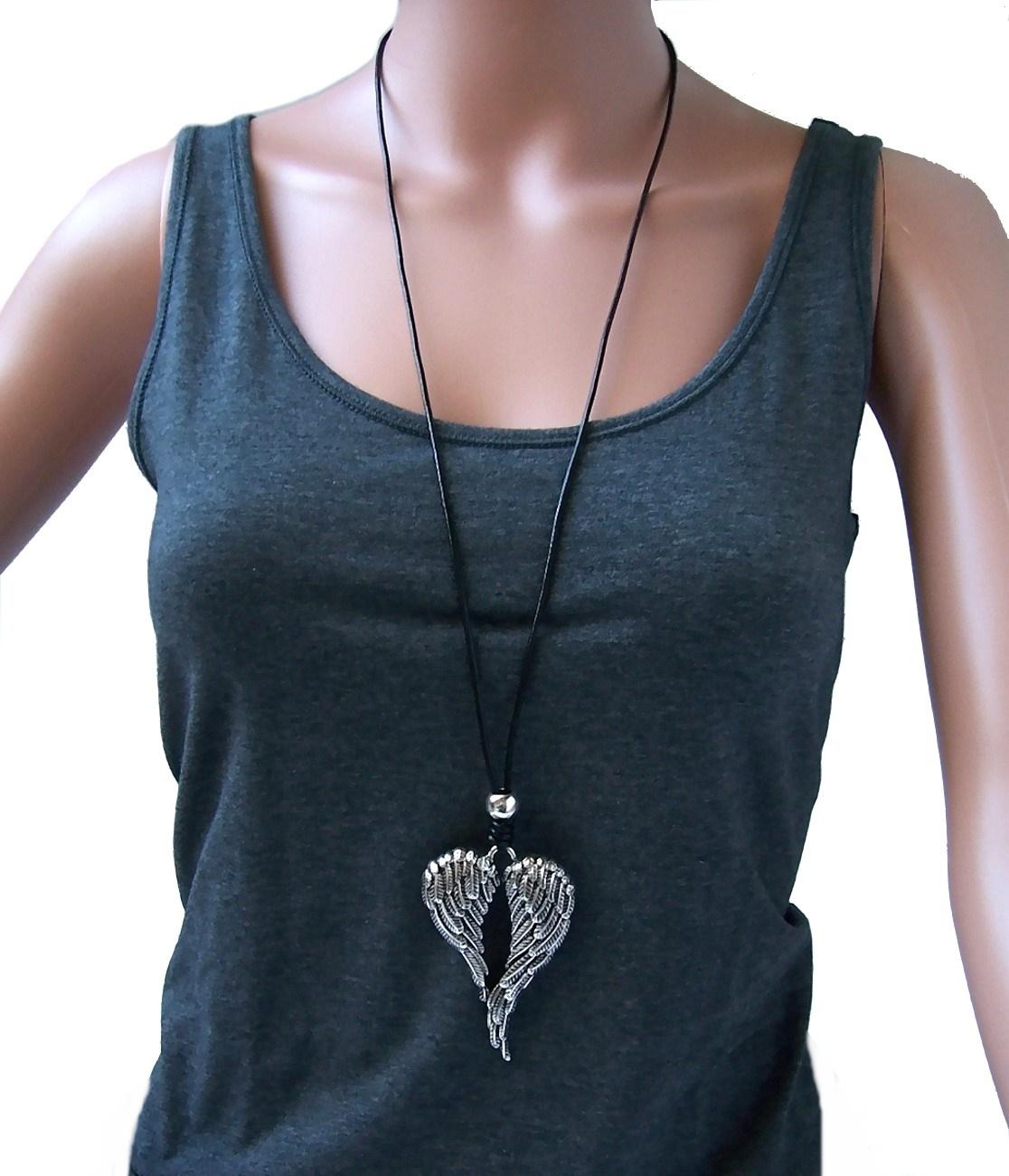Kette lange Halskette Leder-look schwarz Flügel Anhänger silber K1450