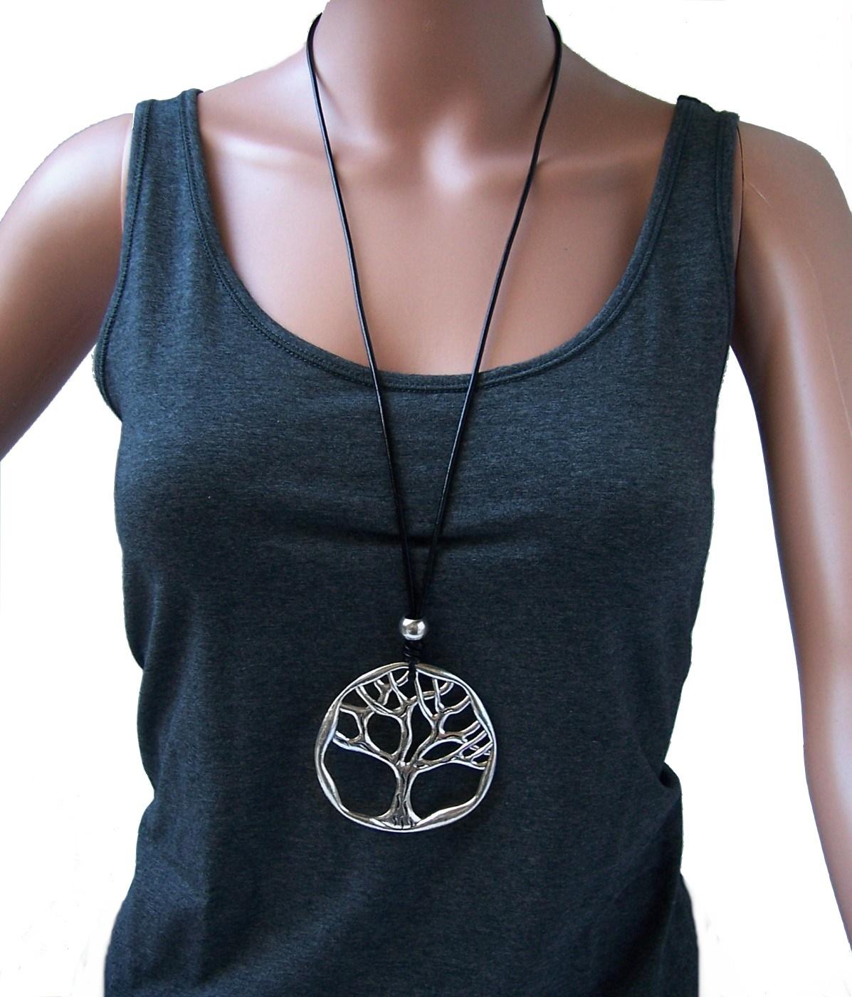 Kette lange Halskette Leder-look schwarz Lebensbaum silber K1468