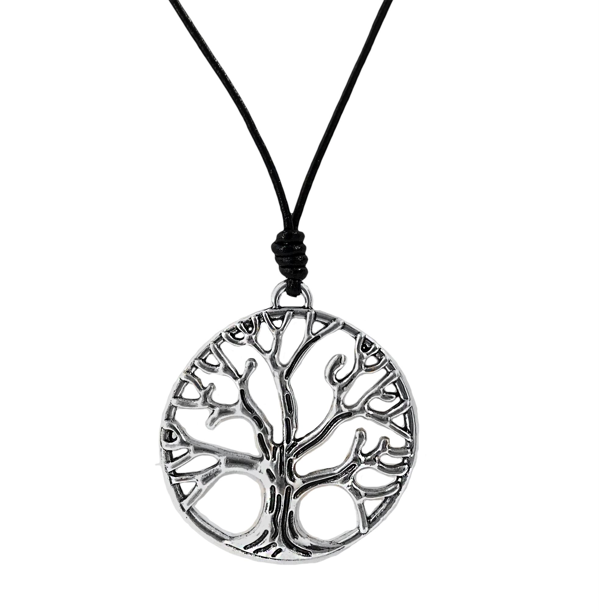 Kette lange Halskette Lederlook schwarz Lebensbaum silber K1468