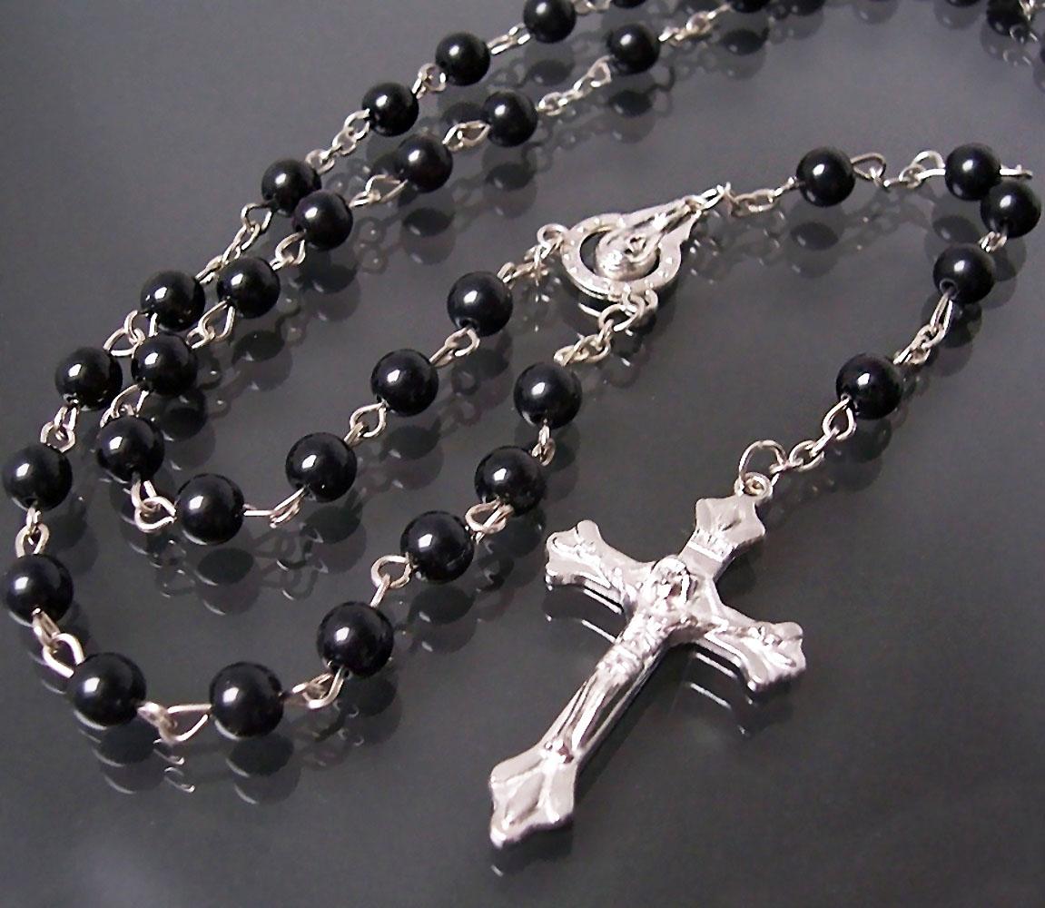 Rosenkranz Perlen 8mm schwarz Kette 75cm Kreuz Jesus Maria Beten K1520