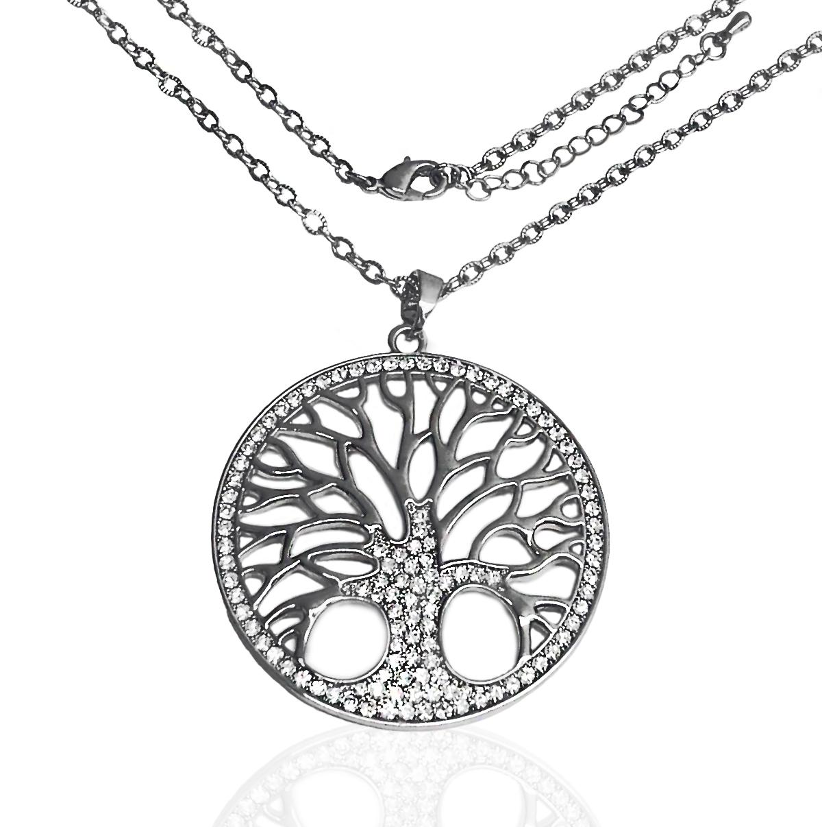 Halskette XXL-Kette 85cm Anhänger Lebensbaum Silber Gold Antiksilber Strass Schmuck K1623-P