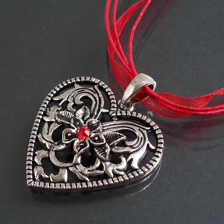 Trachtenkette DirndlKette Tracht Herz Halsband rot 44-49cm K1656A