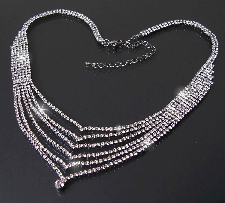 Collier Halskette Kette Strass 43-53cm Silber Wasserfall Schmuck K1678