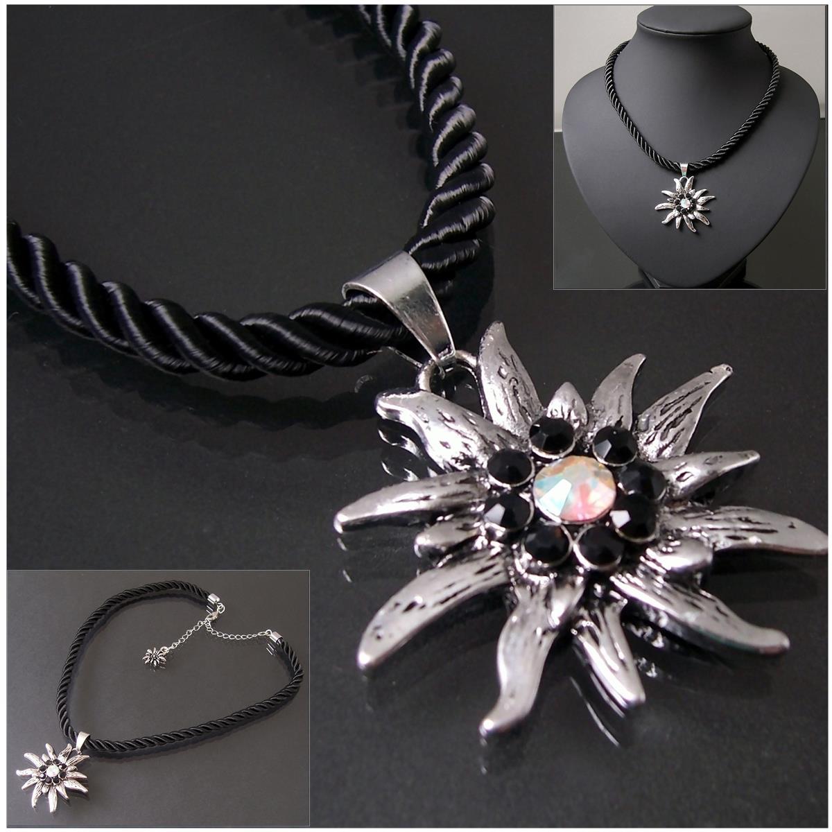 Halskette Tracht Dirndl Edelweiß satinierte Kordelkette schwarz K2819