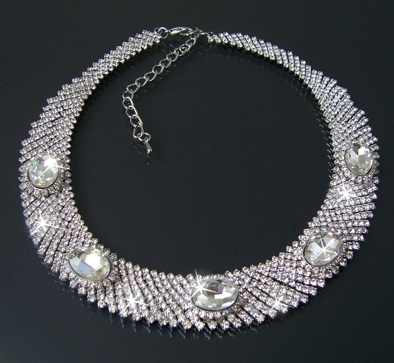 Collier Halskette Hochzeit 36-44cm Silber Zirkonia klar Schmuck K677