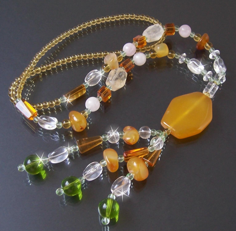 Kette Y-KETTE Karneol Edelstein Glasperlen Perlenkette Schmuck K685