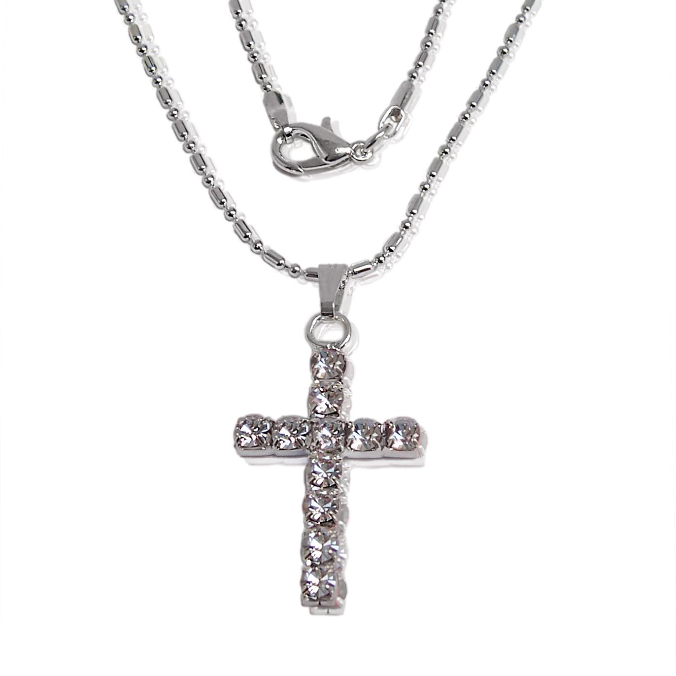 Halskette Kreuz 3cm Anhänger Kreuzkette 42cm Silber Strass klar K969