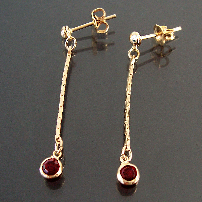 Ohrringe Stecker Ohrhänger 3cm Gold plattiert Zirkonia rot Schmuck O1123