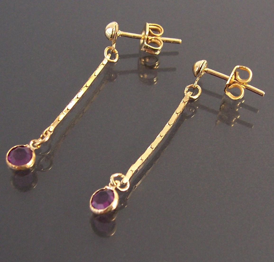 Ohrringe Stecker Ohrhänger 3cm Gold plattiert Zirkonia lila Schmuck O1126