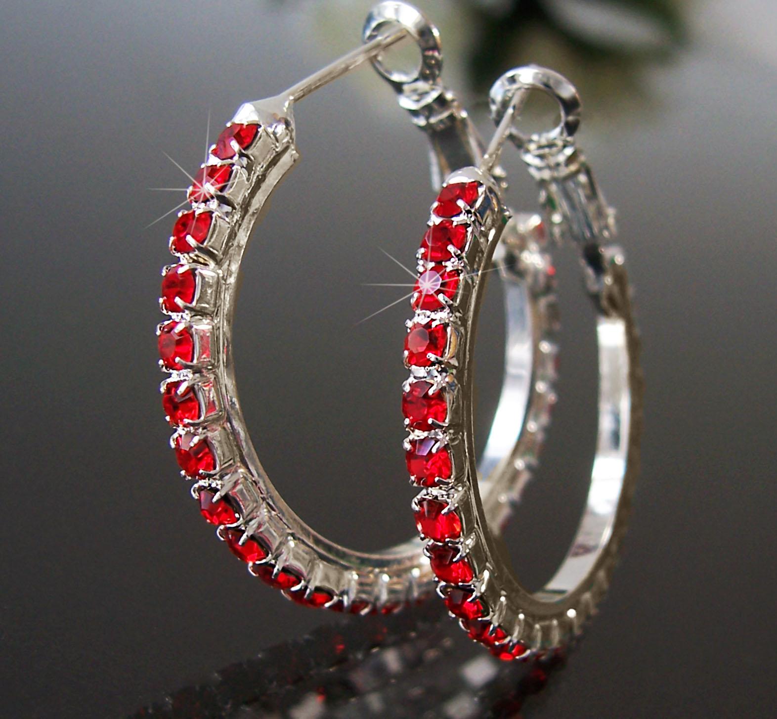Ohrringe Silber plattiert CREOLEN 3cm Strass rot Schmuck Damen O126