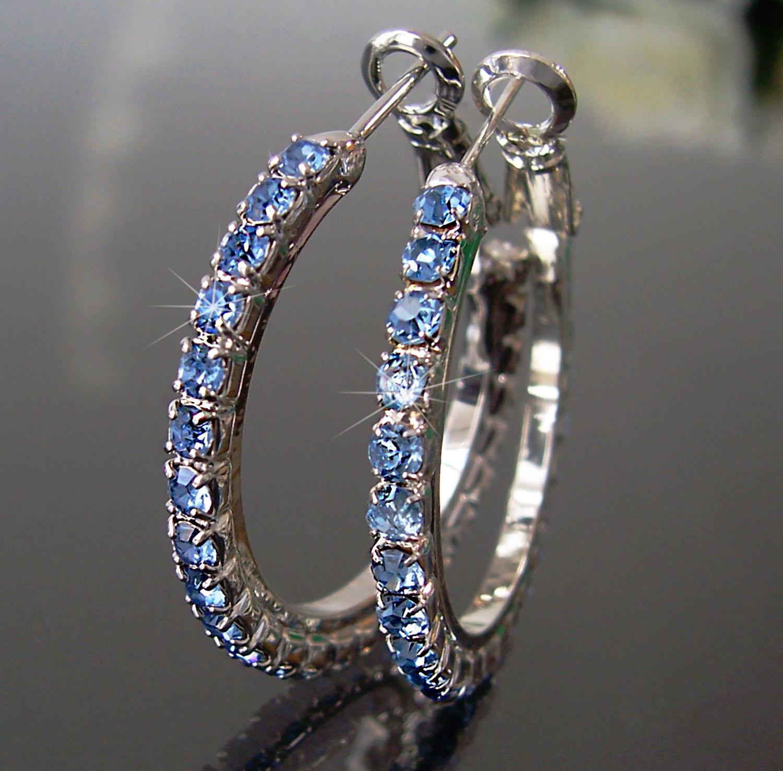 Ohrringe Ohrcreolen silber 3cm Strass blau Damen Creolen SCHMUCK O127