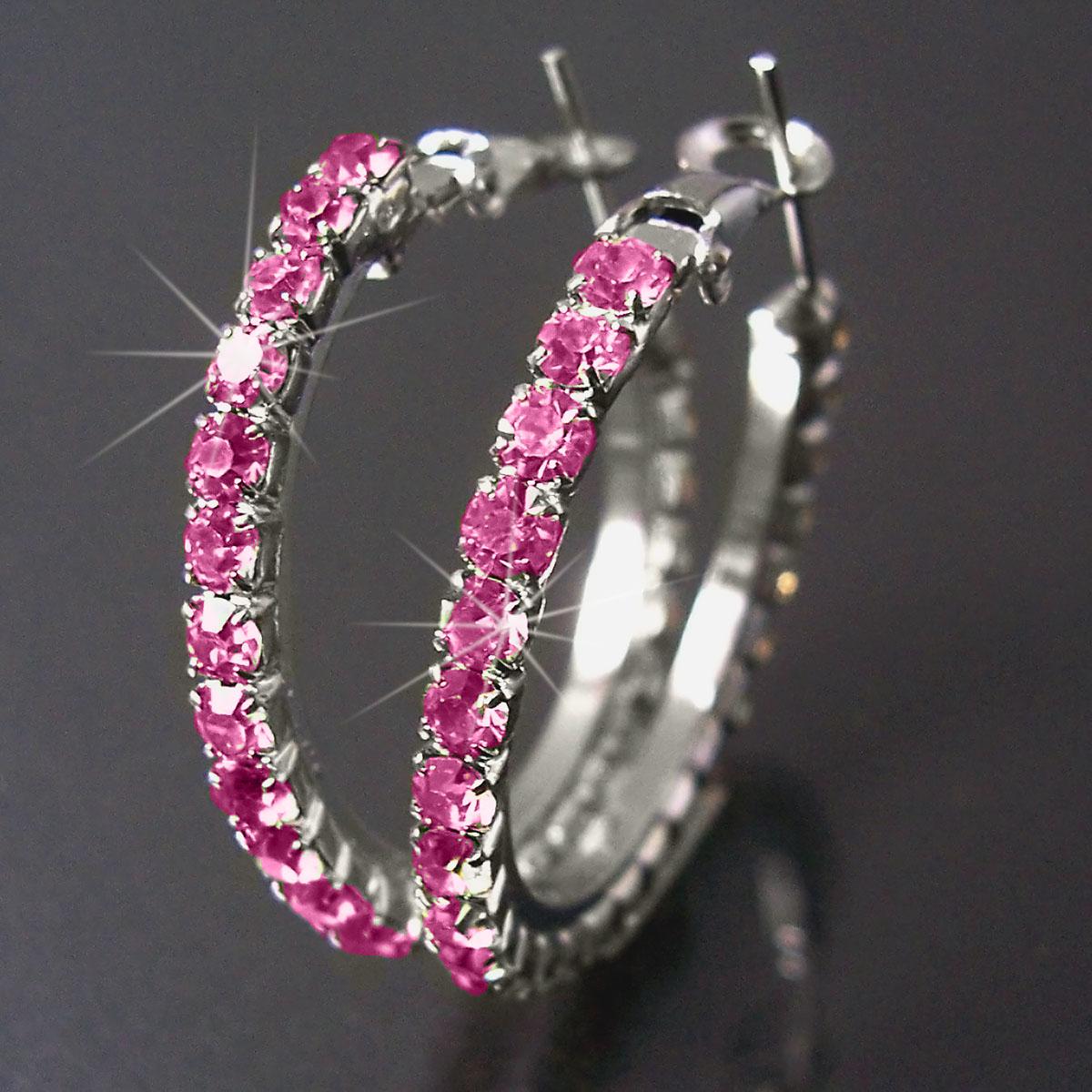 Ohrringe Ohrcreolen silber 3,5cm Strass pink Damen Creolen SCHMUCK O128