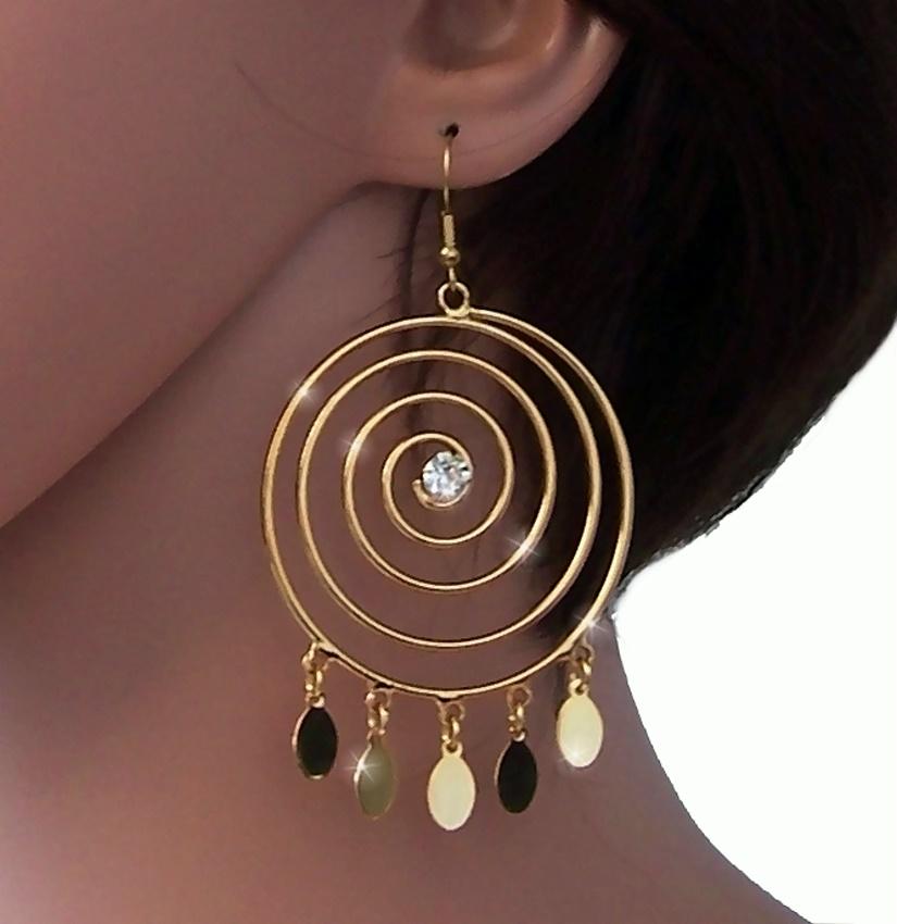 Ohrringe Gold Silber Ohrhänger 9cm Spirale Schmuck Damen Orient Bauchtanz VO16