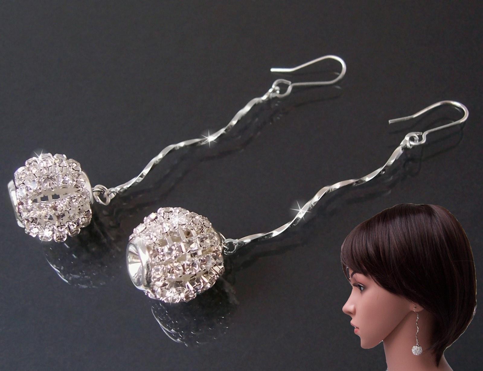 Strassohrringe Ohrringe 7cm lang Silber Mode Schmuck O1679