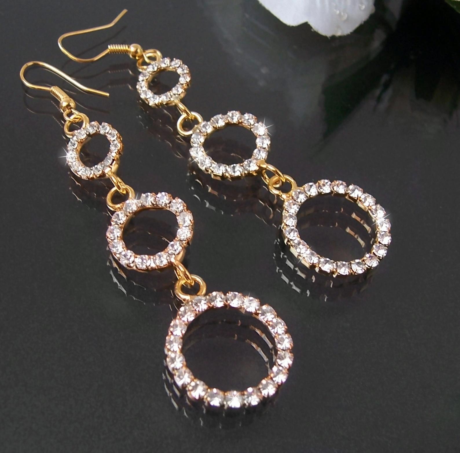 Ohrringe vergoldet Ohrhänger 8cm Strass Creolen Damen Schmuck O1775