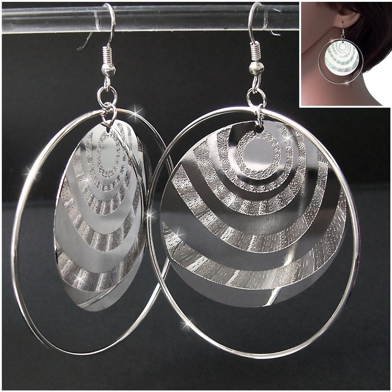 Ohrringe Creolen 5,5cm Ohrhänger Silber Schmuck Glitzer Kreise O1838
