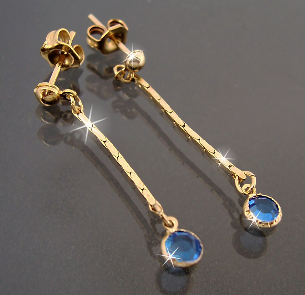 Ohrringe Stecker Ohrhänger 3cm Gold plattiert Zirkonia blau Schmuck O1924