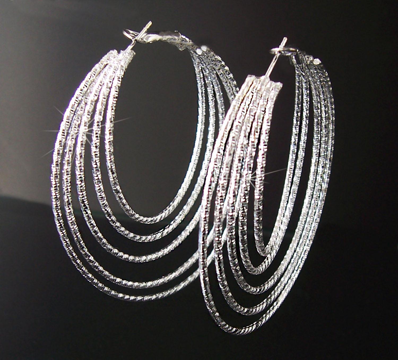 Ohrringe Creolen 6cm Silber plattiert 5-reihig Schmuck Damen O206