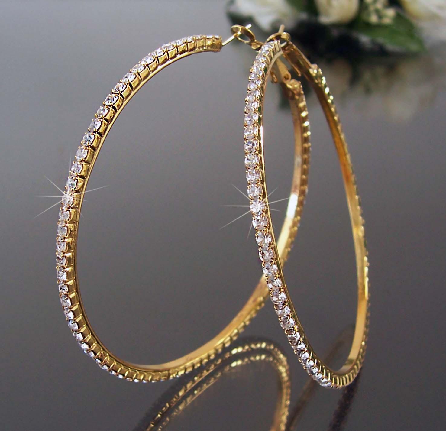 Ohrringe Creolen 7cm Gold Strass Ohrcreolen Schmuck Damen O207