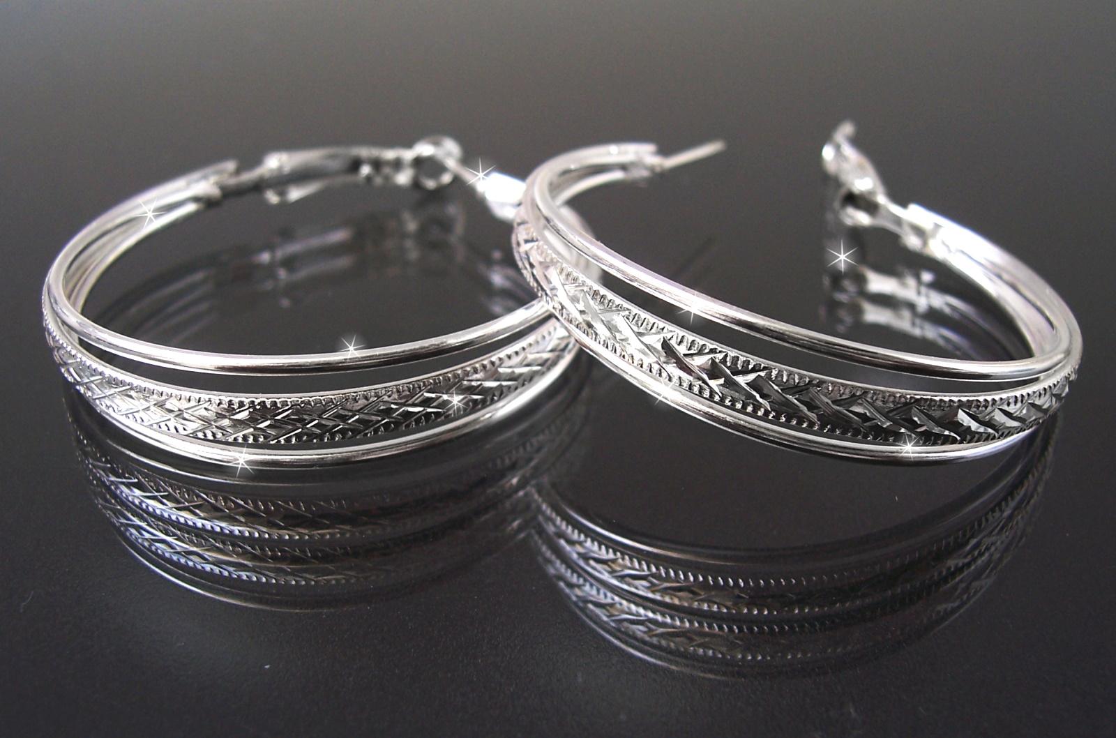 Details zu Ohrringe Silber plattiert Creolen 4cm Mode Schmuck Ohrcreolen Ohrschmuck O2151