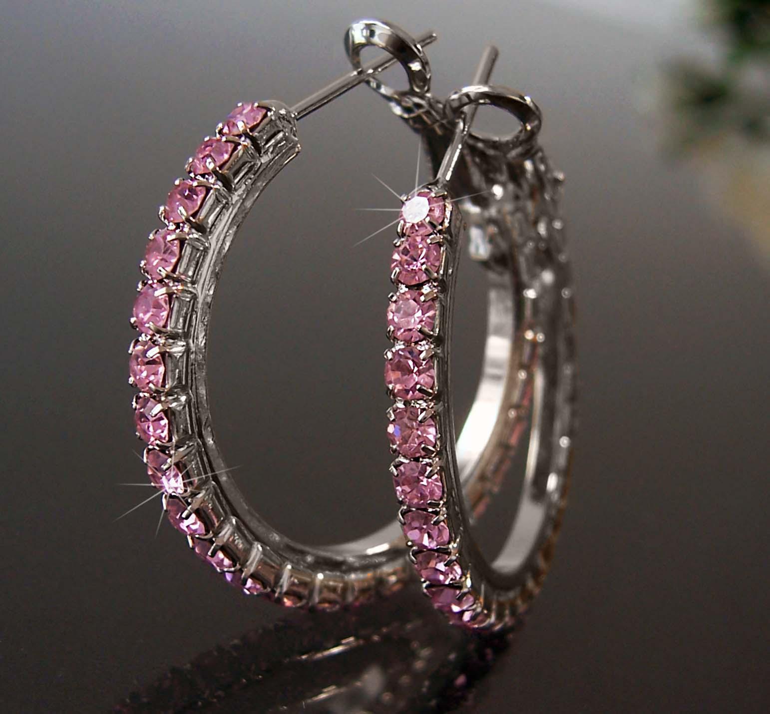 Ohrringe Silber plattiert Creolen 3cm Strass rosa Schmuck Damen O334