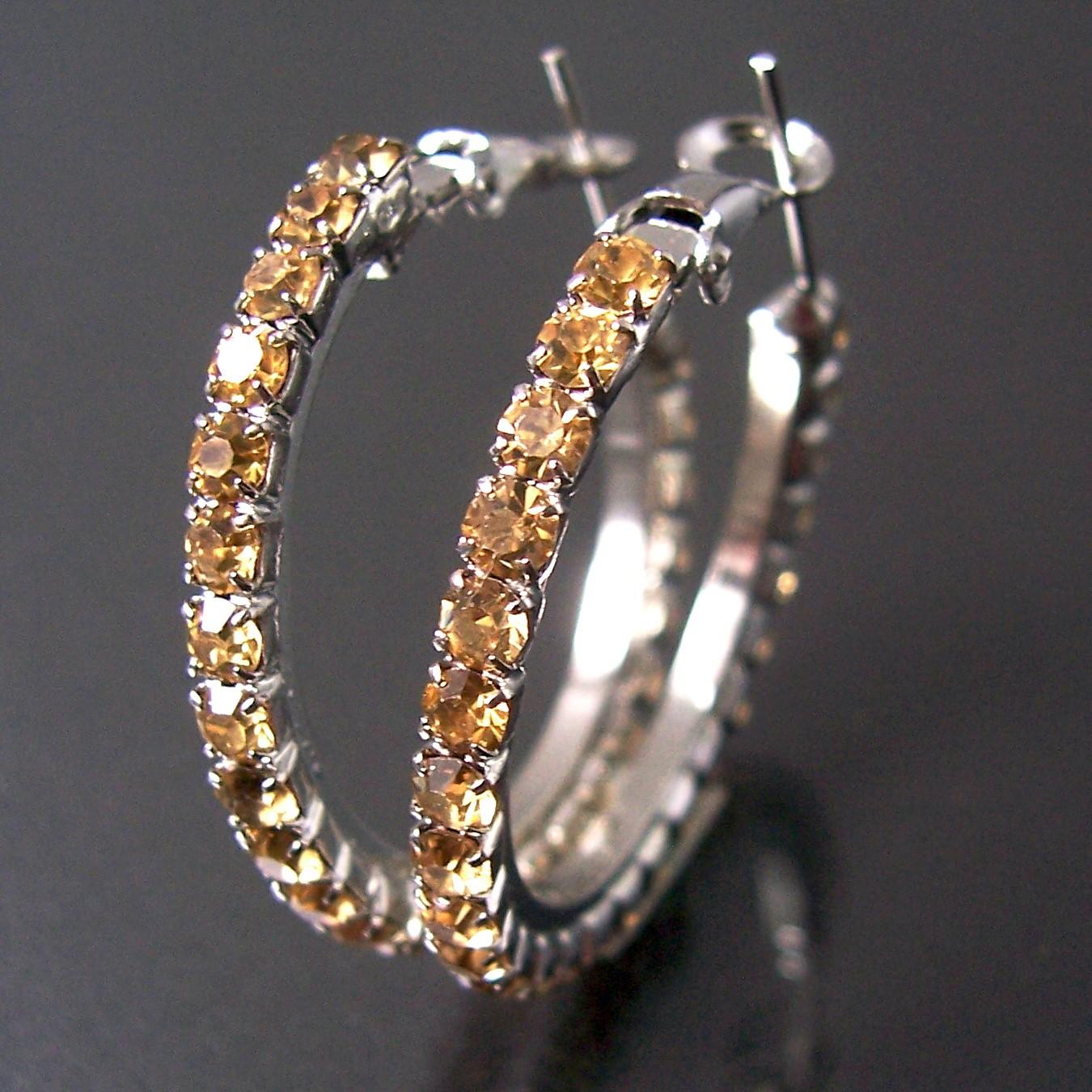 Ohrringe Silber plattiert CREOLEN 3cm Strass gold Schmuck Damen O336
