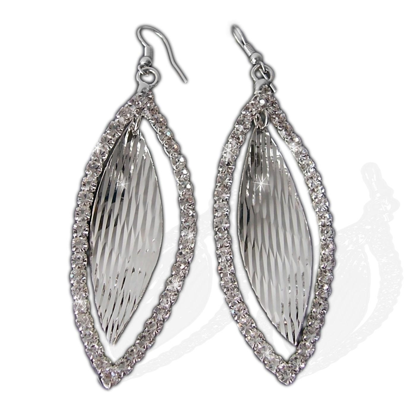 Ohrringe Silber Plattiert Ohrhänger 8cm Blatt Schmuck Strass O38