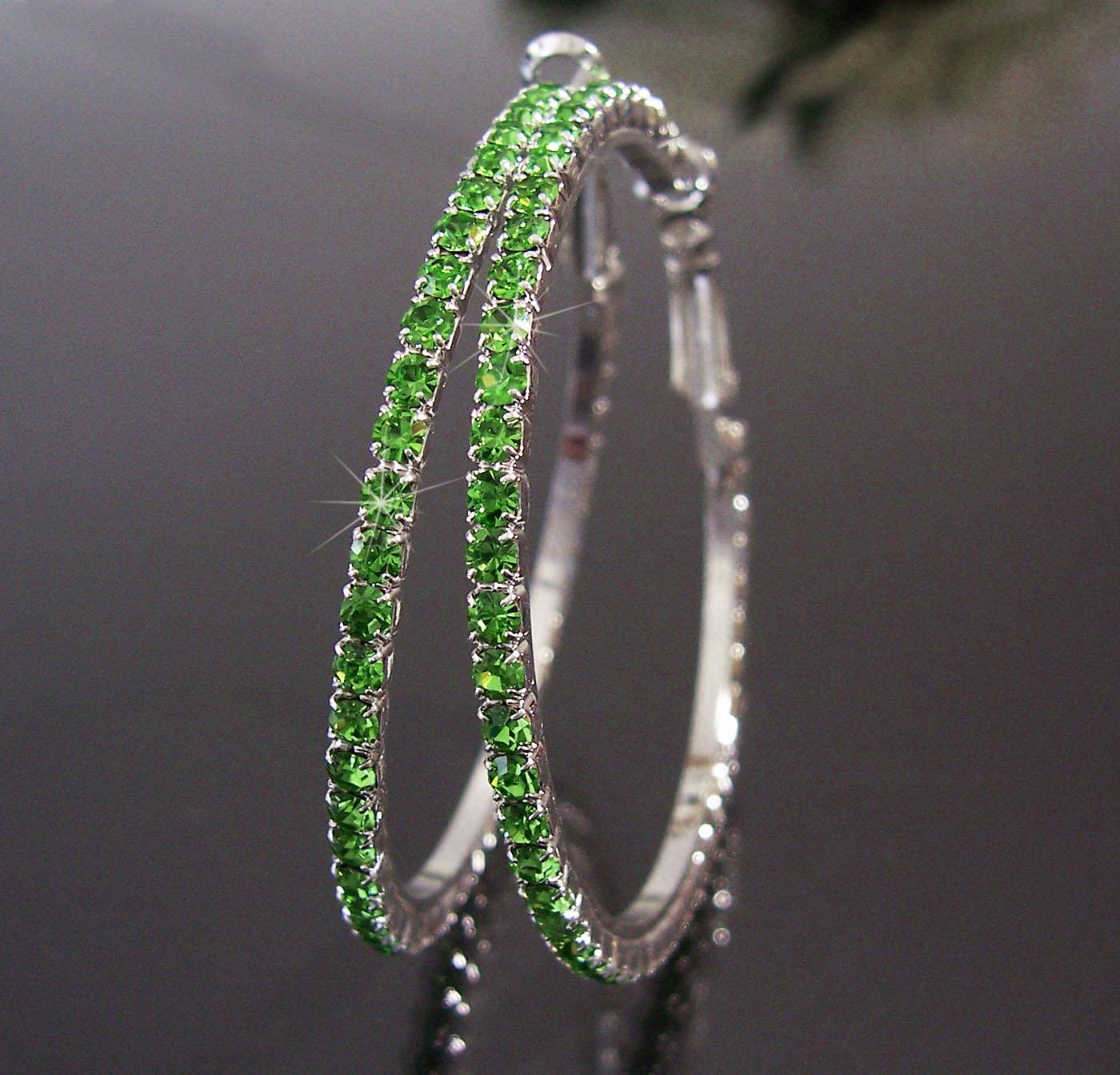 Ohrringe Ohrcreolen silber 5cm Strass grün Damen Creolen SCHMUCK O68