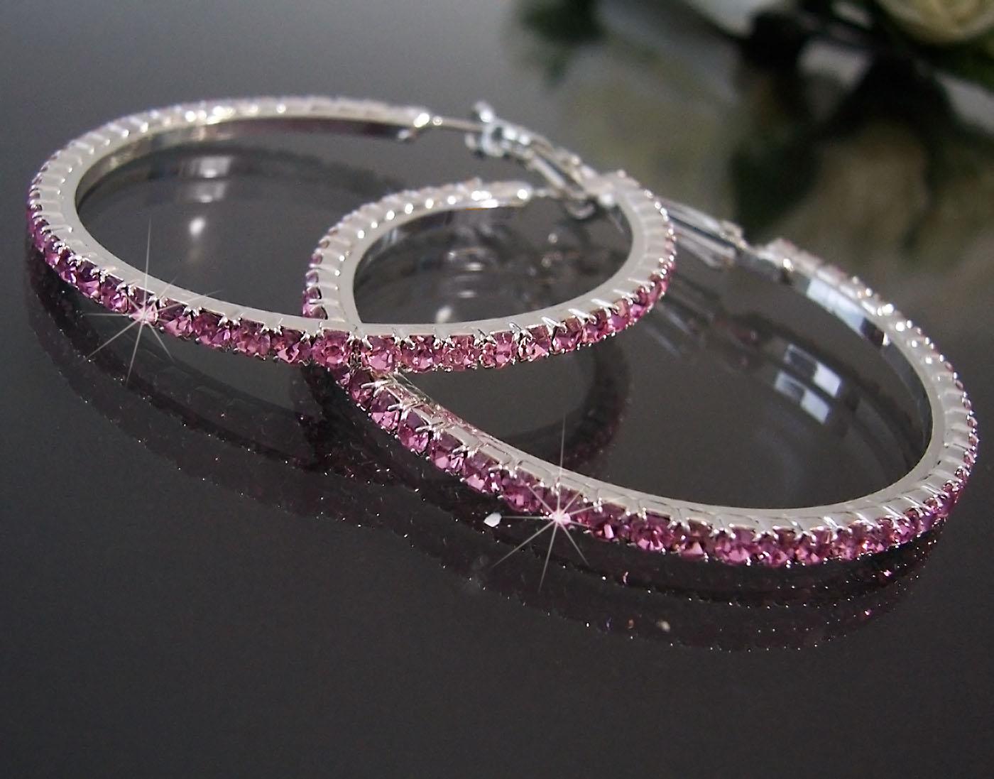 Ohrringe Ohrcreolen silber 5cm Strass rosa Damen Creolen SCHMUCK O69