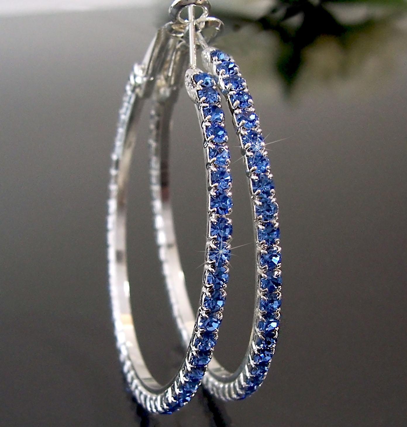 Ohrringe Ohrcreolen silber 5cm Strass blau Damen Creolen SCHMUCK O70