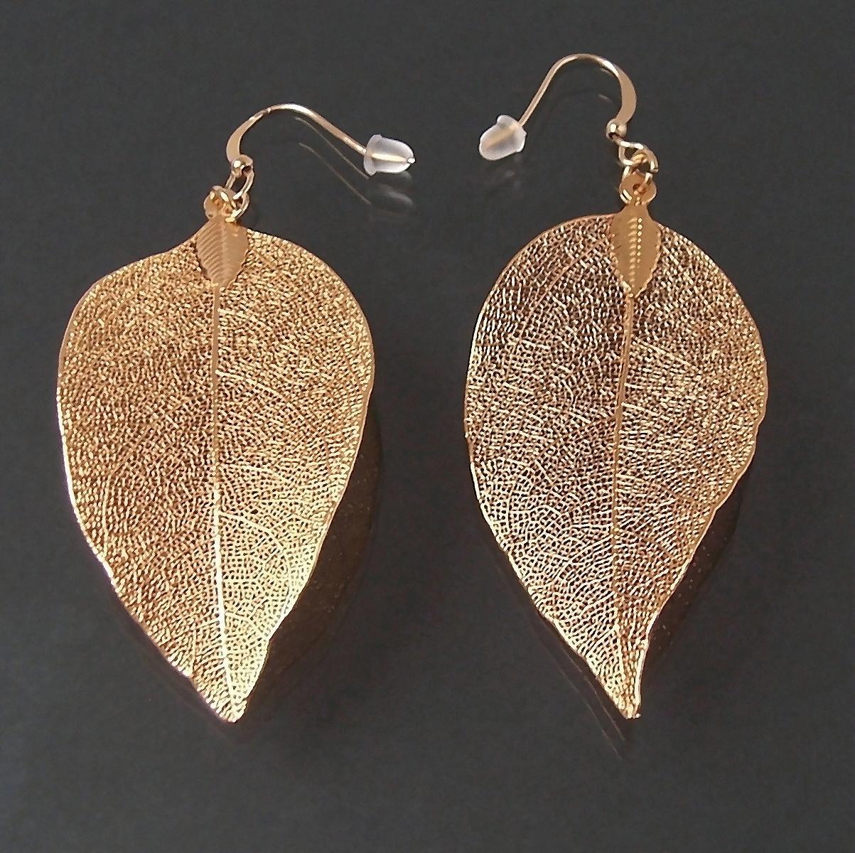 Ohrringe Ohrhänger Blatt Gold pl Schmuck Blattanhänger 5cm O719