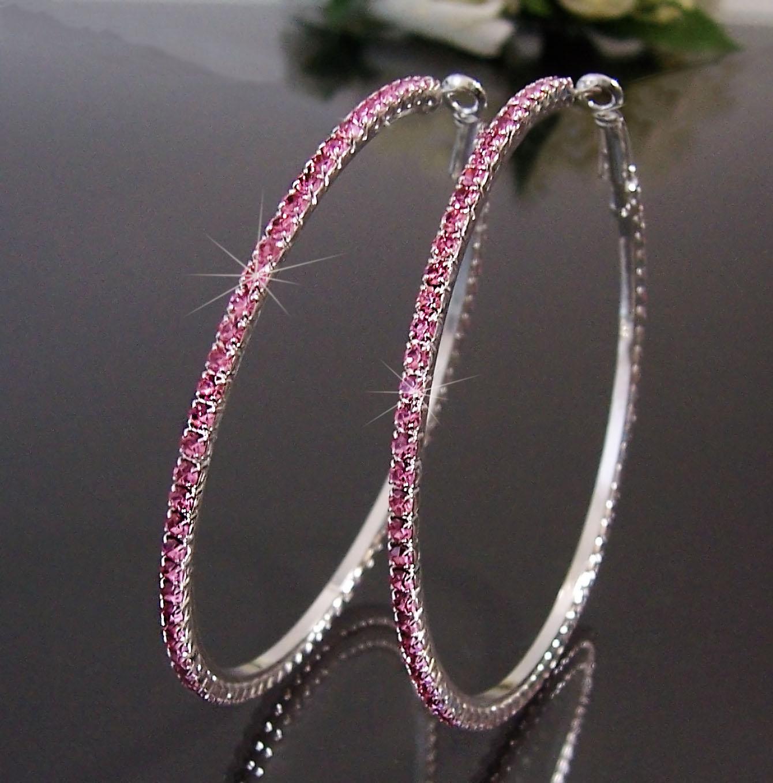 Ohrringe Ohrcreolen silber 7cm Strass rosa Damen Creolen SCHMUCK O71