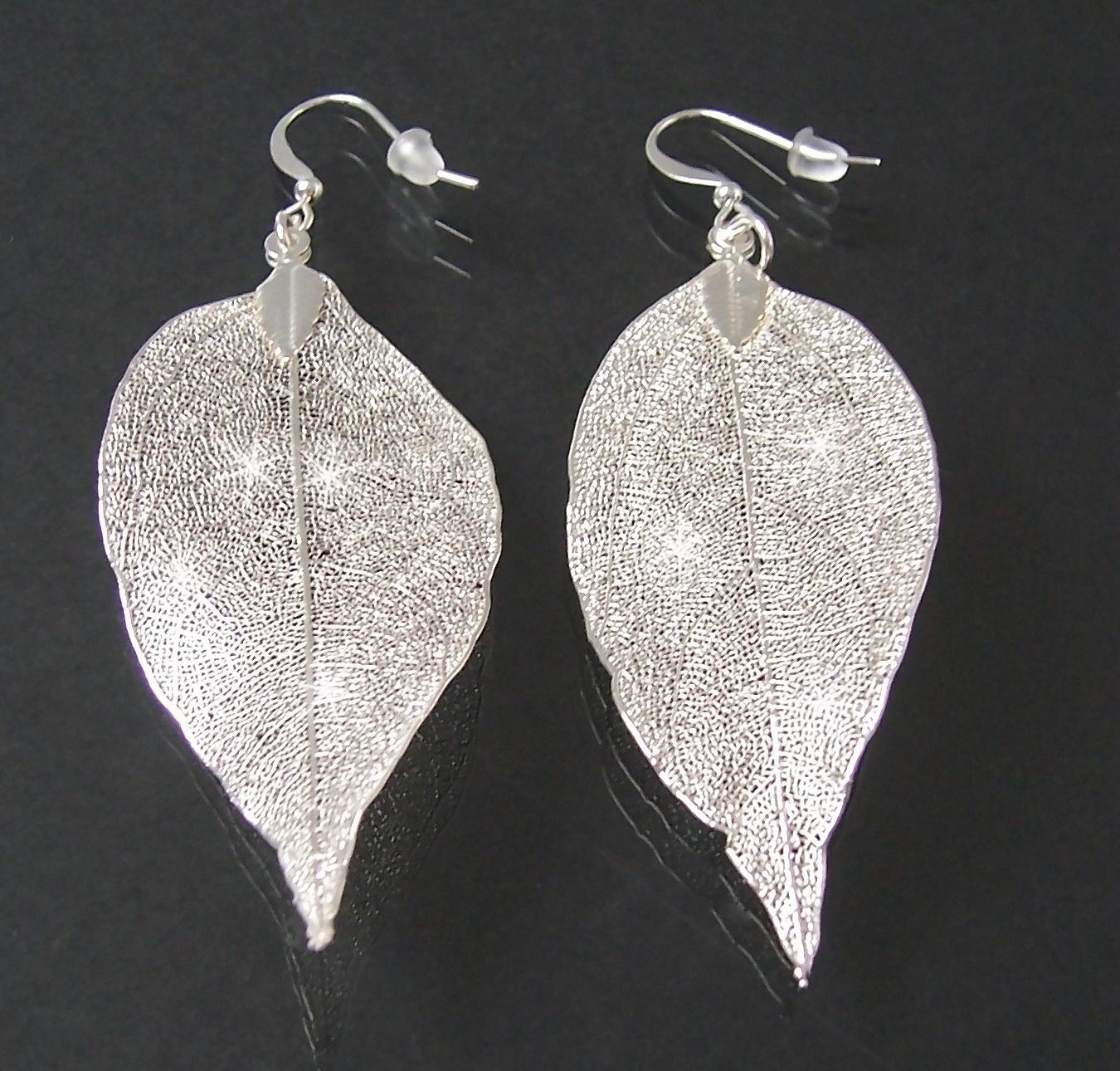 Ohrringe Ohrhänger Blatt Silber pl Blattanhänger 5cm O721