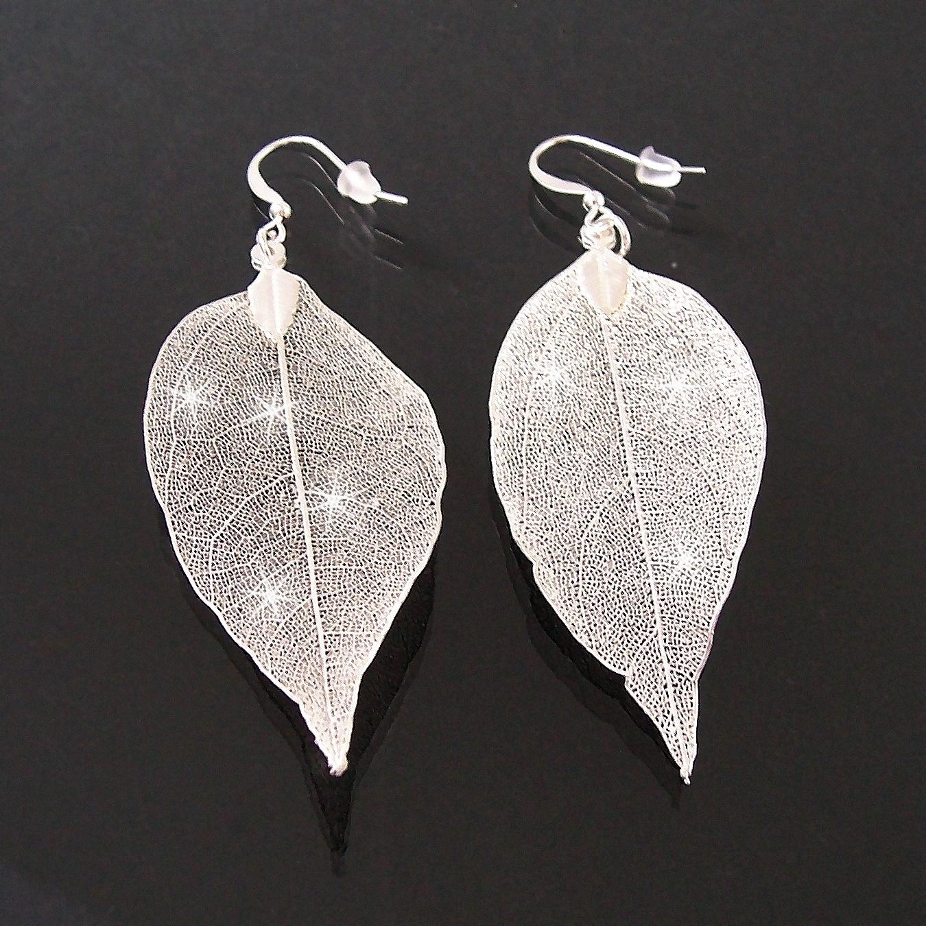 Ohrringe Anhänger Blatt glitzerfrosted Silber Blattohrringe 4cm O77751